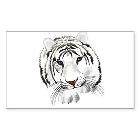 White Bengal Tiger Sticker (Rectangle)