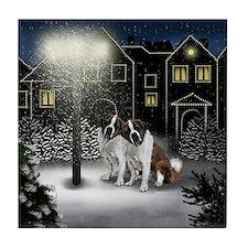 SAINT BERNARD DOGS SNOW CITY Tile Coaster
