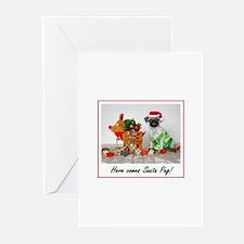 Here comes Santa Pug Greeting Cards (Pk of 20)