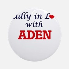 Madly in love with Aden Round Ornament