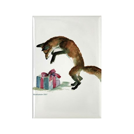 Fox and Present Rectangle Magnet