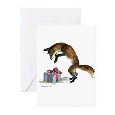 Fox and Present Greeting Cards (Pk of 10)