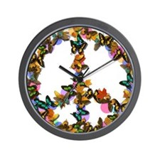 Butterflies Peace Sign Wall Clock