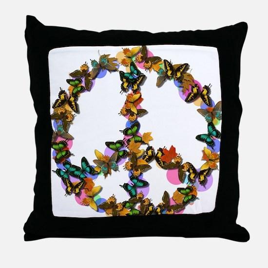 Butterflies Peace Sign Throw Pillow