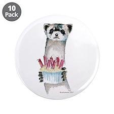 """Birthday Ferret 3.5"""" Button (10 pack)"""