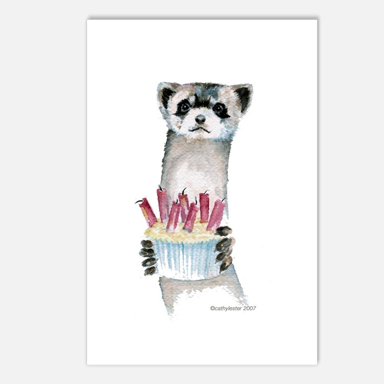 Birthday Ferret Postcards (Package of 8)