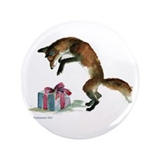 "Fox and Present 3.5"" Button"