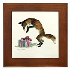 Fox and Present Framed Tile