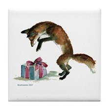 Fox and Present Tile Coaster