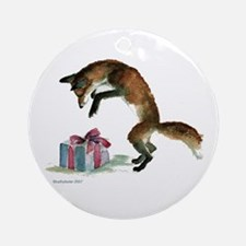 Fox and Present Ornament (Round)