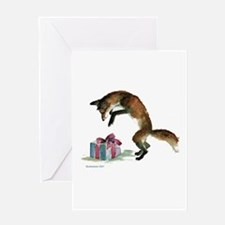 Fox and Present Greeting Card