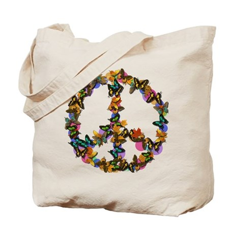 Butterflies Peace Sign Tote Bag