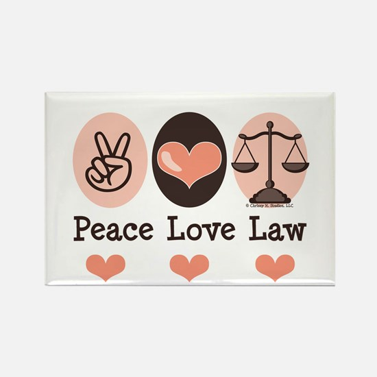 Peace Love Law School Lawyer Rectangle Magnet (100