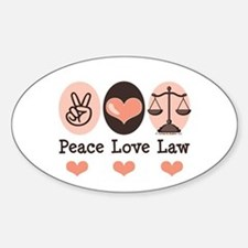 Peace Love Law School Lawyer Oval Decal
