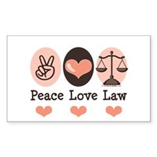 Peace Love Law School Lawyer Rectangle Decal