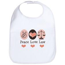 Peace Love Law School Lawyer Bib
