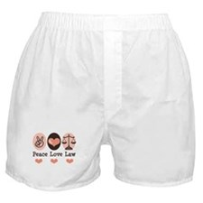 Peace Love Law School Lawyer Boxer Shorts