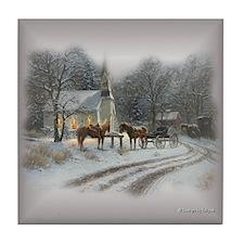Western Christmas Tile Coaster