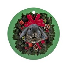 Lop eared Rabbit Christmas Ornament (Round)