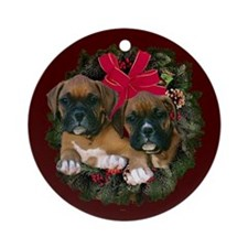 Boxer Puppies Wreath Ornament (Round)