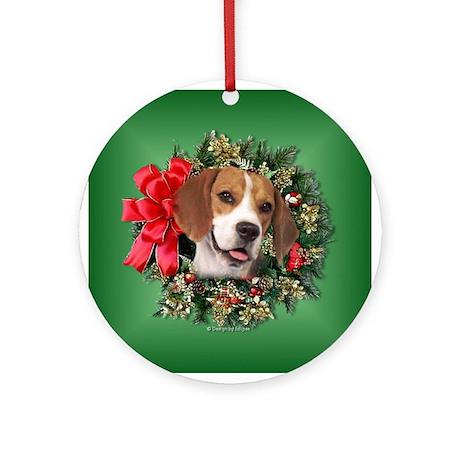 Beagle Christmas Wreath Ornament (Round)