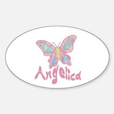 Pink Butterfly Angelica Oval Decal