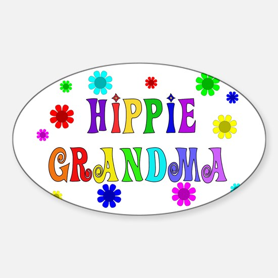 Hippie Grandma Oval Decal
