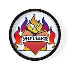 Mother Heart Tattoo Wall Clock