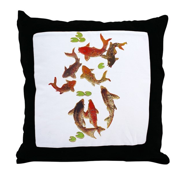 Chinese carp japanese koi fish print throw pillow by for Koi fish pillow