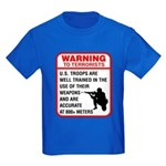 Warning To Terrorists Kids Dark T-Shirt