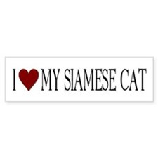 Bumper Sticker I love my Siamese Cat