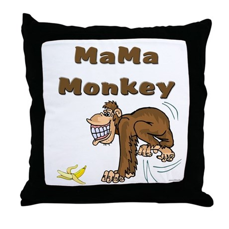 MaMa Monkey Throw Pillow