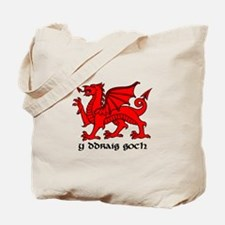 Y Ddraig Goch in Black and Red with Slogan Tote Ba