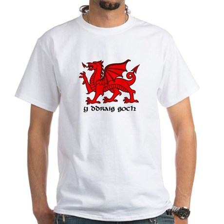 Y Ddraig Goch in Black and Red with Slogan White T