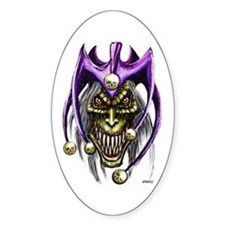 Punk Rock Evil Jester Skull Oval Decal