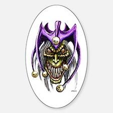 Punk Rock Evil Jester Skull Oval Decal