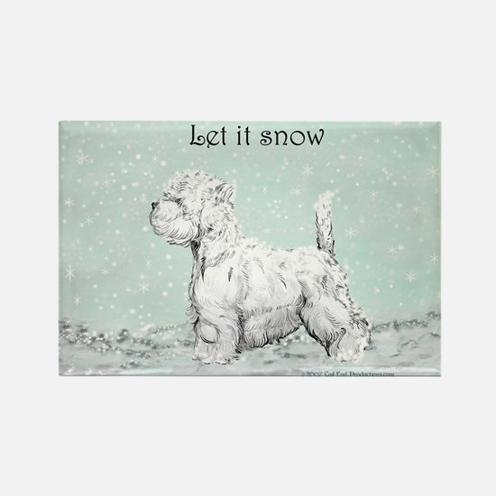Westhighland Westie Winter Rectangle Magnet