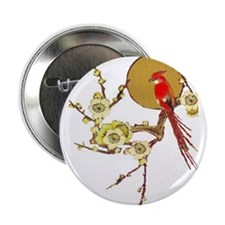 """Red Bird and Blossom 2.25"""" Button/Pin"""