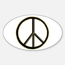 Black Gold Peace Symbol Oval Decal