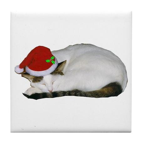 Christmas Cat Nap Tile Coaster