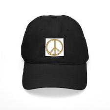 Gold & Black Peace Symbol Baseball Hat