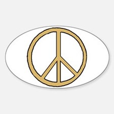 Gold & Black Peace Symbol Oval Decal