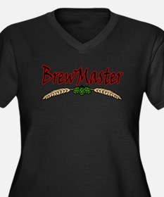 Brew Master Women's Plus Size V-Neck Dark T-Shirt