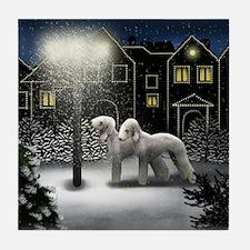 BEDLINGTON TERRIER DOGS SNOW CITY Tile Coaster