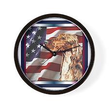 Irish Setter Dog Patriotic USA Flag Wall Clock