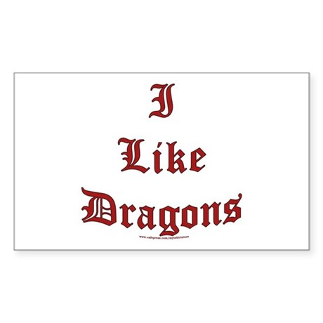 I Like Dragons Rectangle Sticker