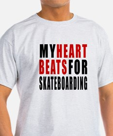 My Hear Beats For Skateboarding T-Shirt