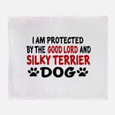Protected By Silky terrier Dog Throw Blanket