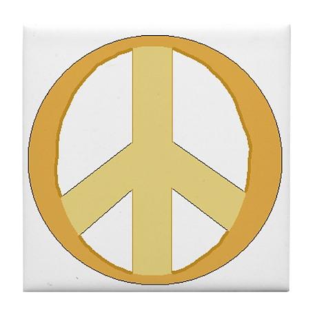 Phat 60's Gold Peace Symbol Tile Coaster