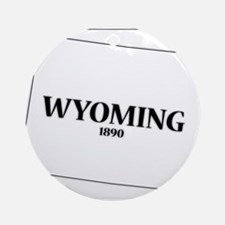 Wyoming State and Date Round Ornament